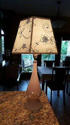 Vintage Mid Century Murano Art Glass Lamp Light Pink Swirl Flower