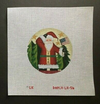 Danji Designs Hand-painted Needlepoint Canvas Ornament/Patriotic Santa With Flag
