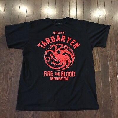 Game Of Thrones House Targaryen Fire & Blood HBO Official T Shirt Adult Size L