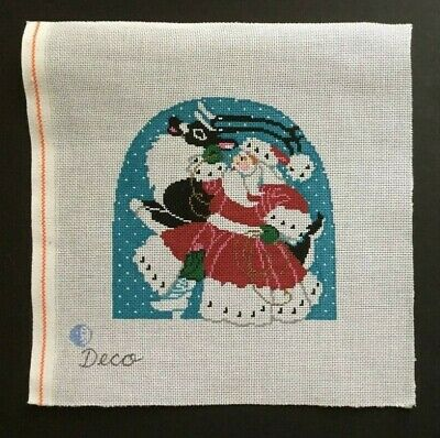 Once In A Blue Moon/Sandra Gilmore Hand-painted Needlepoint Canvas Santa
