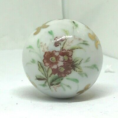 Antique Hat Pin Cinnamon-pink Flowers Atop Porcelain Sphere of Beauty.