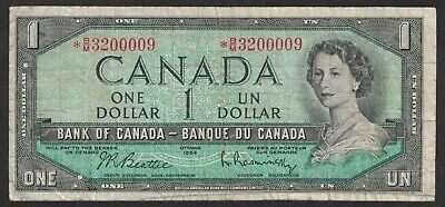 1954 Bank Of Canada Replacement 1 Dollar Bank Note Money Asterisk  * B/M 3200009