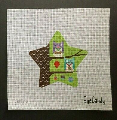 EyeCandy Hand-painted Needlepoint Canvas Colorful Star Ornament With Owls