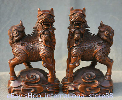 "5.2"" Old Chinese Boxwood Wood Hand Carved Dragon Kylin Qilin Beast Statue Pair"
