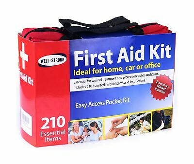 WELL-STRONG First Aid Kit 210 Pieces with Durable and Compact Canvas Bag for ...