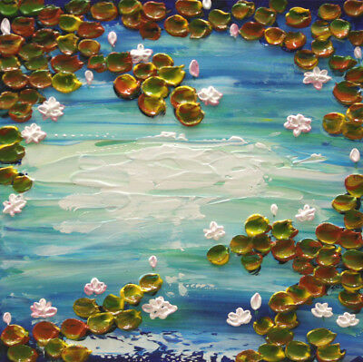 "Original Water Lilies Painting, Palette Knife, Water Artwork 12"" x 12"" by Nata S"