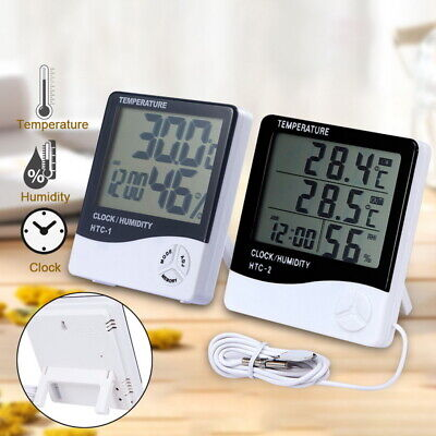 Digital LCD Thermometer Hygrometer Humidity Meter Room Temperature Clock US