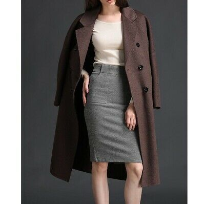 100% Wool Women's Double Breasted High-end Overcoat Trench Jacket Cashmere Coats