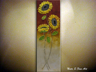 Sunflower Painting, Palette Knife Art, Original Vertical Wall Art by Nata S.