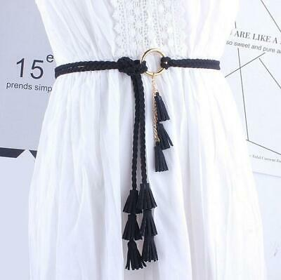AU Women Fashion Belts Tassel Ladies Braided Belt Self-Tie Thin Waist Rope Gift