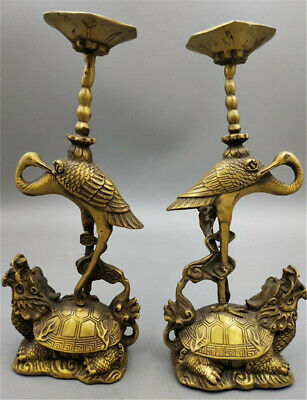 China Bronze Dragon Tortoise Turtle Crane Bird Candle Holder Candlestick Pair