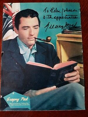 Gregory Peck Signed Color Picture, genuine and rare!  From vintage magazine