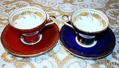 2 Aynsley Cobalt Blue / burgundy tea cups, gold lace, Gold filigre corset shape