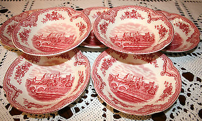 """Johnson Brothers Old Britain Castles nappes, 5"""" 1/8 fruit bowls, set of 7. 1930s"""