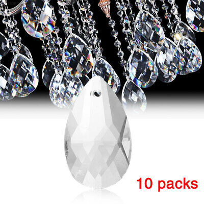 50D0 10Pcs/Pack Clear Crystal Pendants Hanging Glass Chandelier Home Decoration