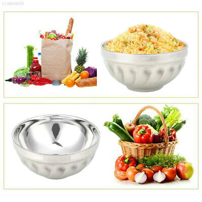 Stainless Steel Bowls Hard Heat Insulation Dual-Layers Double-Deck Silver Color
