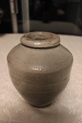 Stoneware Earthenware Jar Vessel Crock Glazed Pottery Vintage Farmhouse Decor