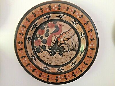 Vazquez Burnished Charger Tonala Mexican Pottery Large Bird Flora Signed