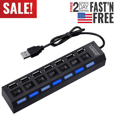 7-Port USB 2.0 Multi Charger Hub +High Speed Adapter ON/OFF Switch Laptop/PC NEW