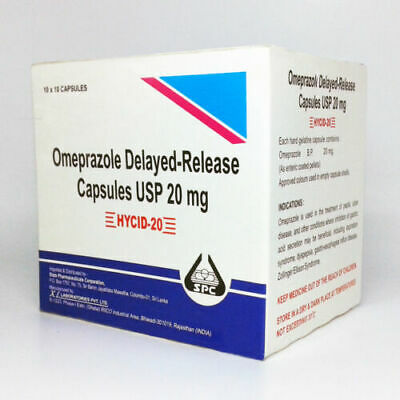 Omeprazole 100 CAPSULES 20 mg OTC Acid Re flux Heart Burn Reducer Formula