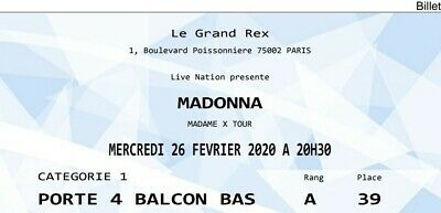 1 Billet Ticket Madonna MADAME X TOUR Grand Rex Paris CAT1 26/02/2020 e-ticket