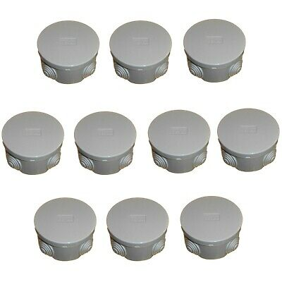 10 x Round Electrical Junction Box & Grommets Snap Lid 80 x 40mm IP44 Outdoor