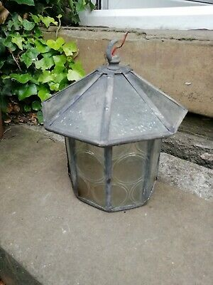 Old vintage glass & lead light shade needs slight restoration