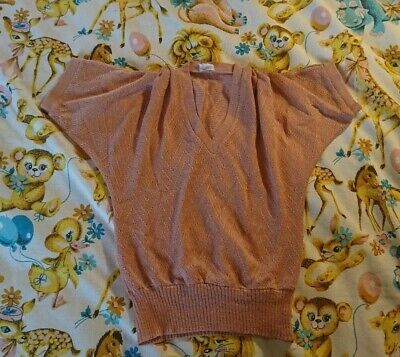 Vintage 70's/80's Mod top. Size 12-14. Batwing, loose sleeves, pink