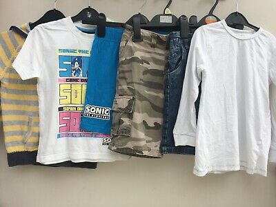 Boys Clothes Bundle 5-6 Years, Next, Sonic, M&S Shorts, Tops, Hoody VGC