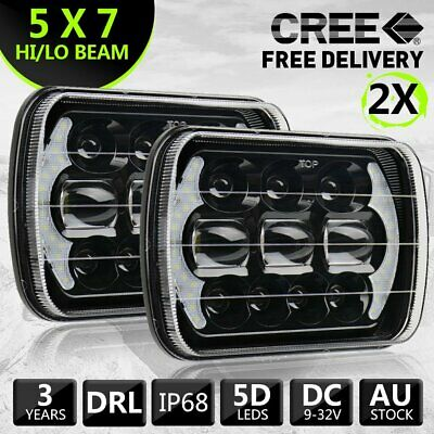 Pair Hilux Led Upgrade Head Light 5X7Inch Headlight Replacement Hi/Lo H4 Plug