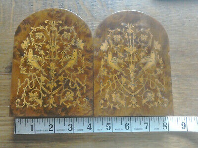 Vintage Italian Sorrento Ware Wooden Book End Pair Bookends inlaid walnut wood
