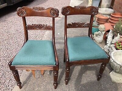 Pair Mahogany Regency Carved Dinning/Hall Chairs