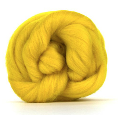 BUTTERCUP YELLOW 100% MERINO WOOL TOPS 64s 50g-200g spinning felting roving
