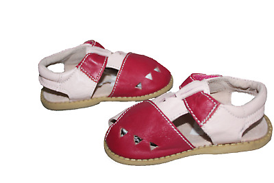 Livie and Luca Girls Pink Red Leather Summer Holiday Sandals UK Infant Size 5