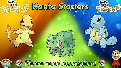 Shiny Bulbasaur/Charmander/Squirtle Pack 6 IV - Pokemon Let's Go Pikachu/Eevee