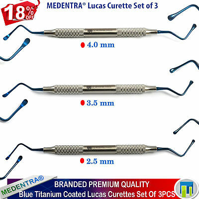 MEDENTRA® Dental Cyst Removal Scalers Bone Lucas Curettes Surgical Perio 3Pcs CE