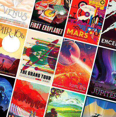 NASA SPACE TRAVEL POSTERS - A4 - A3 - A2 - Retro Prints - Vintage Wall Art Decor