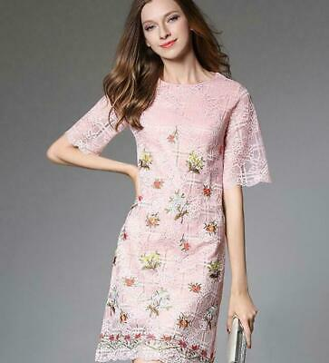 Womens fashion temperament Floral Embroidery lace hollow out A-line Dress Pink