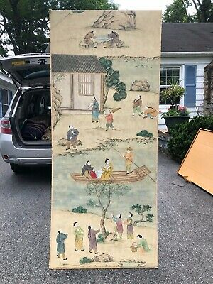 Antique Ming Chinese Character Landscape watercolor Scroll Painting Large