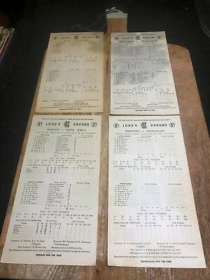 Lord's Ground-Original 3 & 5 day Match Cards-1955/56-Aust v Eng-MCC-Middlesex+ 4
