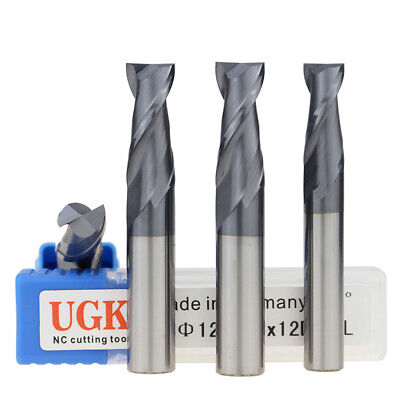 HRC55 Solid Carbide 2 Flute End Mill TiAlN Coated Sizes 1mm-12mm Drill Bit