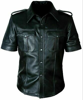 Mens Hot Police Uniform Bluff Gay Genuine Real Black Sheep / Cow Leather Shirt