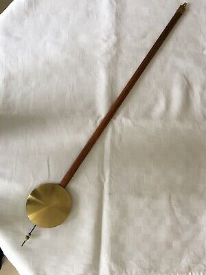 Vintage Longcase Grandfather Clock Pendulum Brass Face Wood Rod  81cm Parts