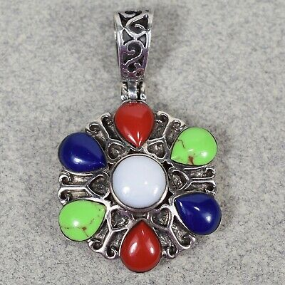Beautiful Sterling Silver Multi Stone Pendant signed FAS -- 1239