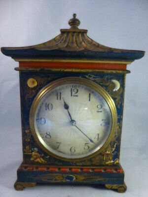 Edwardian Oriental Pagoda Lacquered Mantle Clock Working