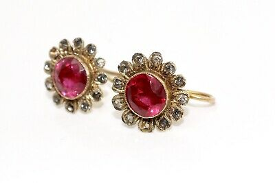 Antique Art Deco Sterling Silver Gilt Synthetic Ruby & White Paste Hook Earrings