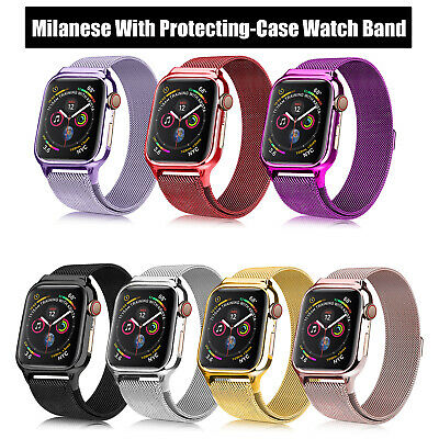 40/44mm Milanese iWatch Band Stainless Steel Strap + Case fr Apple Watch 4 3 2 1