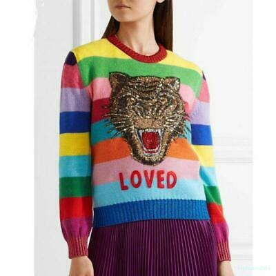 Womens Occident  Embroidery Floral Knitting  Sequins Sweater Coat Pullover Tops