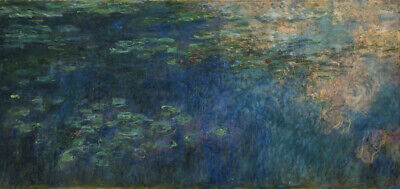 Art Print Oil Painting Claude Monet Reflections of Clouds on the Water-Lily Pond