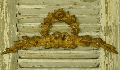 Beautiful Antique French Architectural Gilded Pediment / Mount, Flowers & Bow